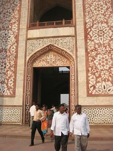 Akbar's Tomb in Sikandara. The red sandstone of the tomb of Humayun (his father) is here more heavily inlaid with white marble.