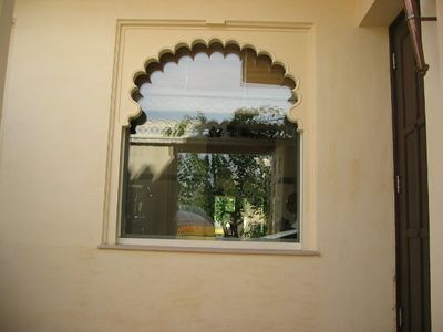 Bathroom window from private patio