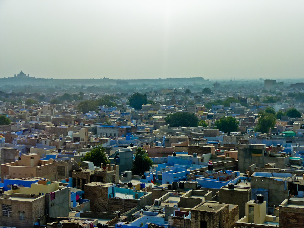 Lovely blue city of Jodhpur. Umaid-Bhawan-Palace on the horizon.