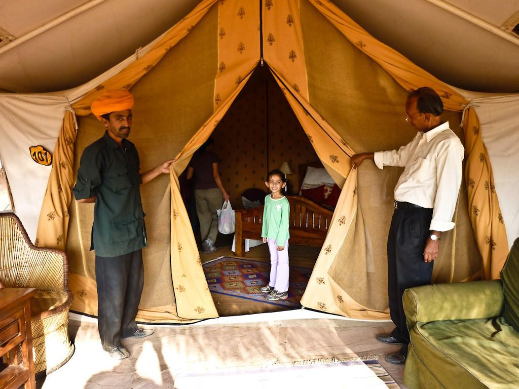 Enternece to our room, I mean tent inside a hut.