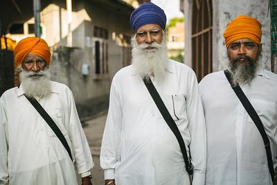 Three Sikh men in Punjab, India.