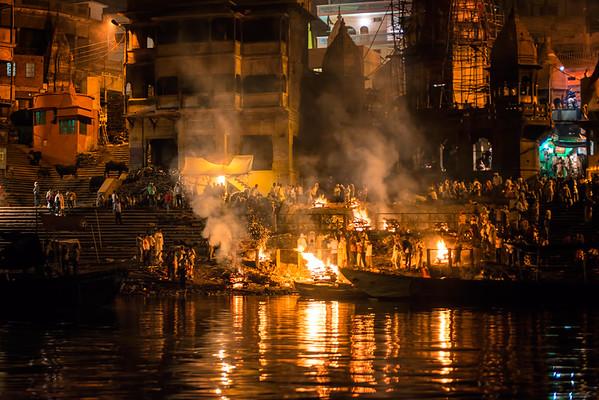 Night scene, cremation ghat