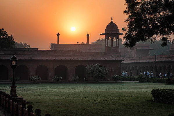 Entering the Taj Mahal grounds at sunrise.