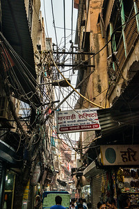 Electrician's nightmare in the old section of Delhi.