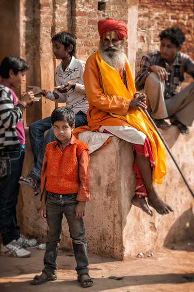 Random street shot in Orchha. Note the generational differences in clothing. The young man didn't know quite what to make of me. Thought I was Indiana Jones looking for the Lost Temple.