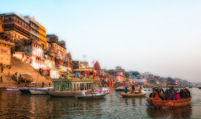 Early morning Ganges trip, a very scenic activity for tourists, both foreign and Indian.