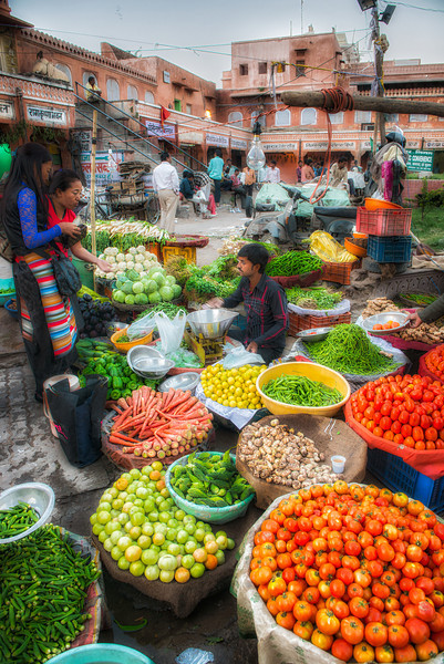Vegetable market in the old section of Jaipur, the pink city. The main reason constipation is not a problem in India.