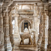 Elephant sculpture decorating a section inside the main temple at Ranakpur.