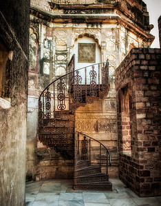 Beautiful staircase inside the Mehrangarh Fort, Jodhpur.