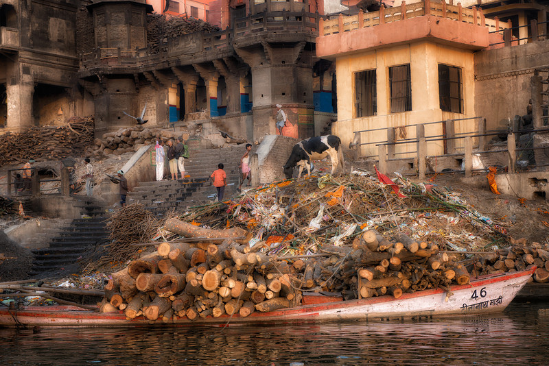 A morning view of the holiest cremation spot on the Ganges in Varanasi. Cremation at this site in this holiest of cities provides the final step into liberation from the cycle of death and rebirth. The large pile is comprised of the bamboo sticks used to carry the deceased to the river, and the gilt cloth used to wrap the body for transport. The wood on the barge and stored in the stacks is used for the cremation. There were no fires at this moment in the morning, but by evening there will be multiple cremations at the same time.