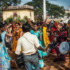"""Women pilgrims dancing in the temple courtyard in Orchha. The temple was closed at the moment, and when I asked the guide why it was closed, he said """"because it's not open"""". I should have known."""