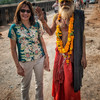 Outside the City Palace of Orchha we encountered this fellow. Apparently this sadhu-looking man is actually there mainly for picture purposes. The Indian equivalent of the Disney characters in Orlando. Quick picture for ten rupees please. True sadhus do not pose or ask for money.