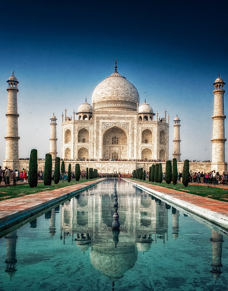 The Taj Mahal in Agra. Truly one of the most beautiful sites we've ever seen. Amazing that it's possible to get such a shot of the location, despite the presence of thousands of visitors at any given moment. Note the lines of people on both sides of the water, and the line of Indian tourists across the front of the building.
