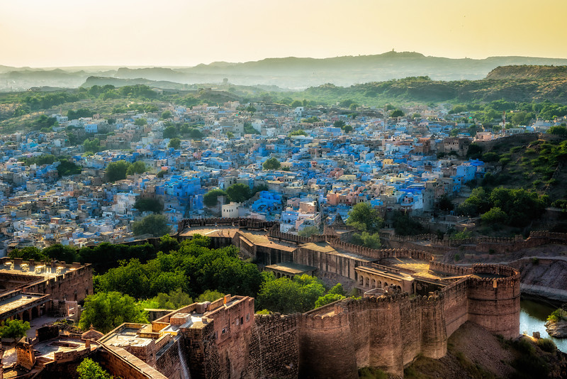 Westward view from the Mehrangarh Fort in Jodhpur, known as the blue city for it's fascination with painting their homes that color.