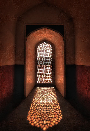 Window detail inside Humayun's tomb, New Delhi.