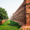Outside view of the moat around the Red Fort in New Delhi.
