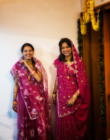 Two sisters in Udaipur on the evening of Divali. Their home was part of the building that housed a tailor's shop where Gloria was shopping.