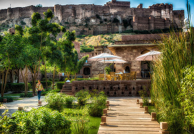 The Hotel Raas in Jodhpur. Mehrangarh Fort in the background.