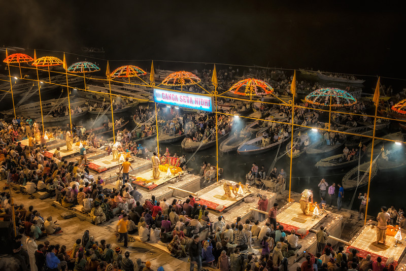 The evening Aarti ceremony on the bank of the Ganges in Varanasi. This takes place every evening as seven Brahmin priests perform prayers to put the river to sleep.