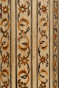 A detail of the semiprecious stones inlaid in the white marble at Agra Fort. The Taj Mahal has the same decoration on a much grander scale.