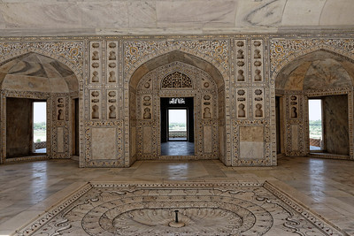 One of the many rooms in Agra Fort, this one richly decorated with inlaid semiprecious stones in the white marble.