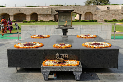 """The words on the front of the memorial to Mahatma Ghandi read """"Oh, God!"""" which he apparently said after he was shot by a member of his own party."""