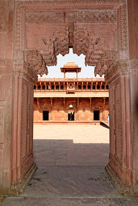 A view through one of the many doors and courtyards of the Agra Fort.