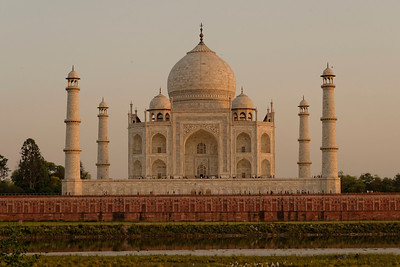 The classic shot of the Taj Mahal at sunset, from the other side of the river, where Shah Jahan planned to build a black Taj, for his own mausoleum. His son disagreed and imprisoned Shah Jahan in the Agra Fort for the rest of his life.