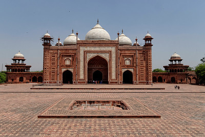 One of the two mosques which stand either side of and complimenting the Taj Mahal.