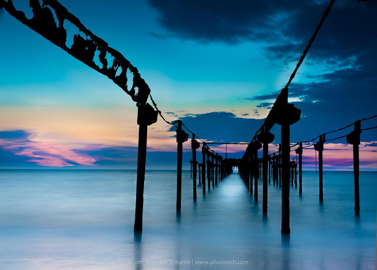Sunset at Alleppey beach, Kerala.