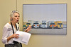 An art painting on the wall of J.I. Miller's office at 301 Washington of truck models from major truck manufactures who incorporated Cummins Diesels.  Dody Harvey hosting a tour June 2016.
