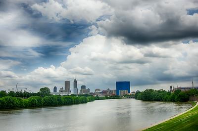 Indianapolis skyline. Panoramic image of Indianapolis skyline at daytime