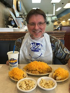 Mike eating one of his favorites - Skyline Chili