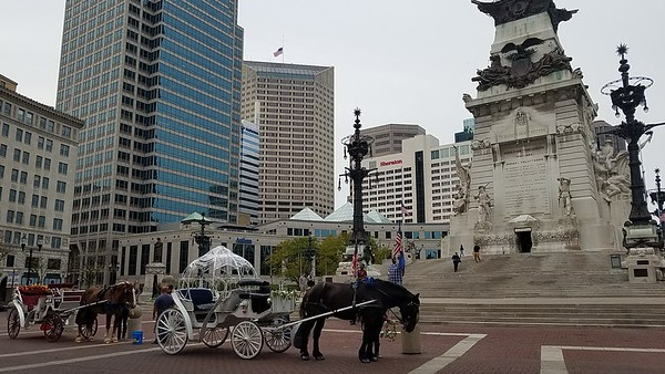 Horse drawn carriages next to the Soldiers and Sailors Monument.