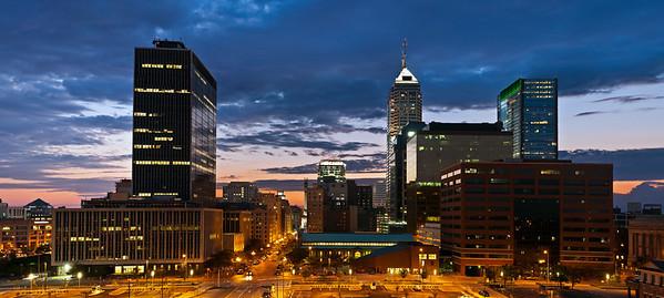 Indianapolis skyline at sunset.