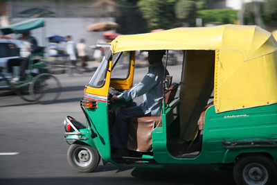 The ubiquitous tuk-tuk. In Delhi they run on liquid natural gas.