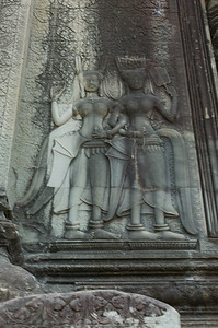 Bas relief at Angkor Wat.