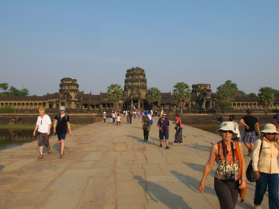 Walking out of Angkor Wat.