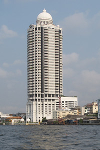 High rise condo on Chao Phraya River, Bangkok with mosque.