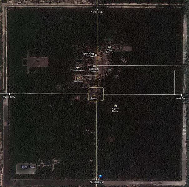 Satellite image of Angkor Thom Temple