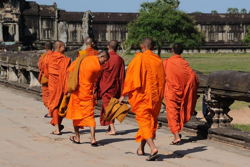 Buddhist monks at Angkor Wat Temple.