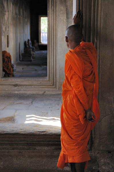 Buddhist Monk at Angkor Wat Temple.