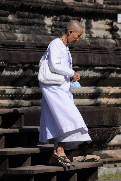 Buddhist nun at Angkor Wat Temple.
