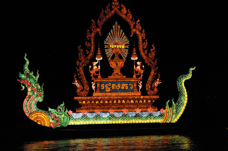 Festival Floats on the Mekong river at night.