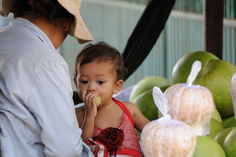 Baby among the pomelos.