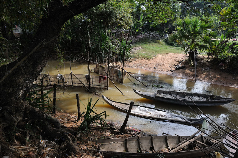 River running into Tonlé Sap Lake, Cambodia.