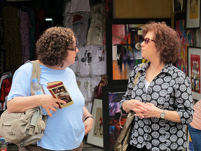 Renee Mirsky and Linda Kasoff on the street in Hoi An leading to the Japanese Bridge.