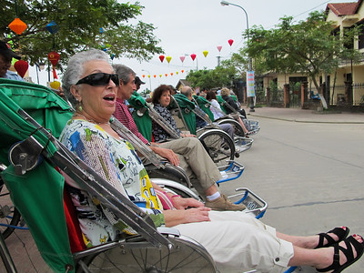 Erma and Ray Cabano, Linda and Jerry Kasoff  in Cyclos (tricycle rickshaws).