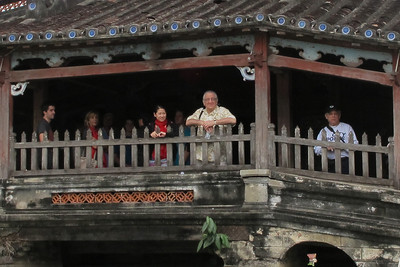 David Minker (left) and Sam Solomon (right) on the Japanese Bridge, Hoi An.