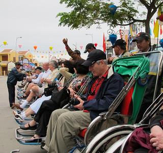 Bruce Levin, Susan Levin, David Minker, Arnie Kaston, Gerry Paul in Cyclos (tricycle rickshaws).
